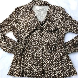 Leopard print button down blouse, ties at collar